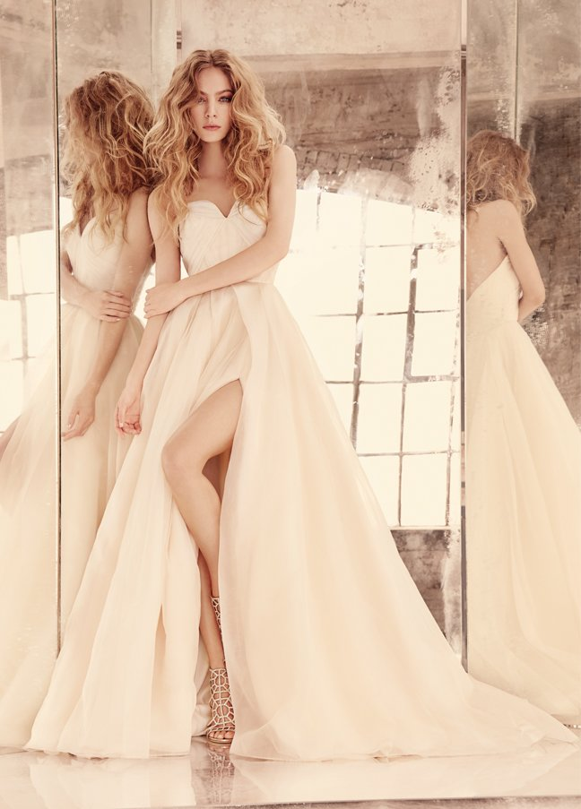 hayley-paige-bridal-organza-ball-architectural-draped-strapless-sweetheart-bolero-full-skirt-slit-6555_zm